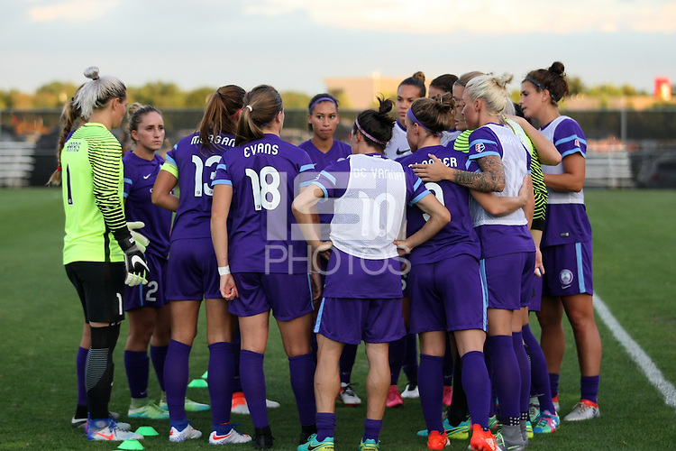 Piscataway, NJ - Wednesday Sept. 07, 2016: Orlando Pride huddle prior to a regular season National Women's Soccer League (NWSL) match between Sky Blue FC and the Orlando Pride FC at Yurcak Field.