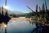 Sunrise on the Snaring River; Jasper National Park. Alberta Canada Jasper National Park.