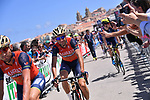 Local man Vincenzo Nibali (ITA) Bahrain-Merida at sign on before the start of Stage 4 of the 100th edition of the Giro d'Italia 2017, running 181km from Cefalu to Mount Etna, Sicily, Italy. 9th May 2017.<br /> Picture: LaPresse/Gian Mattia D'Alberto | Cyclefile<br /> <br /> <br /> All photos usage must carry mandatory copyright credit (&copy; Cyclefile | LaPresse/Gian Mattia D'Alberto)