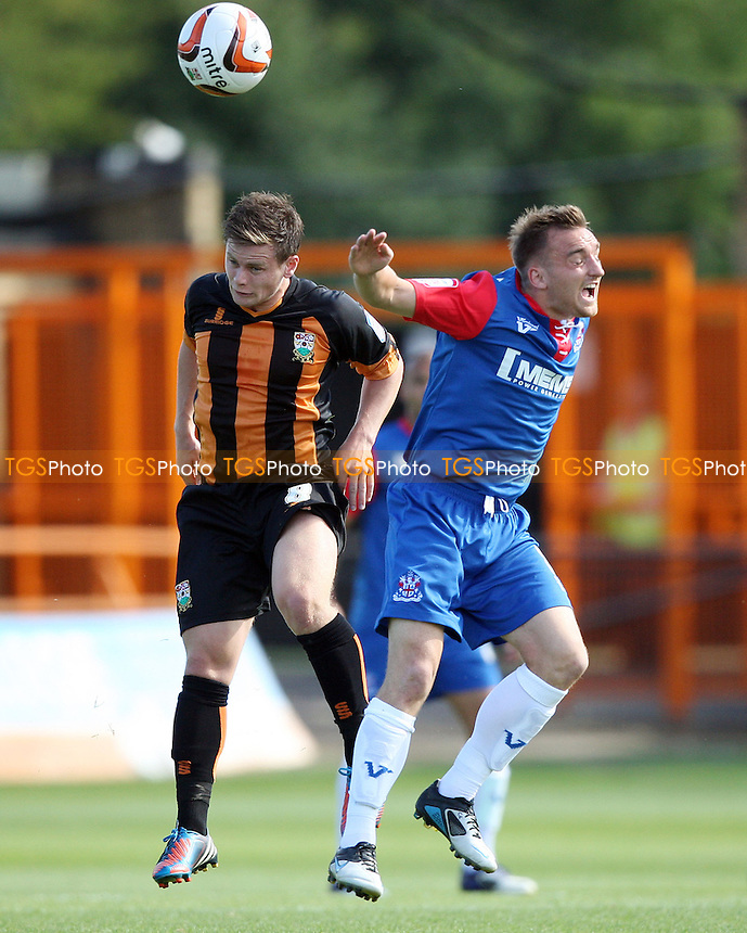 Mark Byrne of Barnet wins this header - Barnet vs Gillingham, League 2 at Underhill Stadium, Barnet - 08/09/12 - MANDATORY CREDIT: Rob Newell/TGSPHOTO - Self billing applies where appropriate - 0845 094 6026 - contact@tgsphoto.co.uk - NO UNPAID USE.