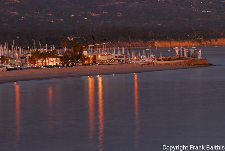 Santa Barbara harbor area at dusk