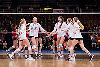 STANFORD, CA -- December 8, 2017. <br /> Stanford Cardinal women's volleyball team defeats the Wisconsin Badgers 3-1 at Maples Pavilion in the NCAA Regional tournament.