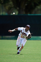 GCL Braves right fielder Trey Harris (5) tracks a fly ball during the first game of a doubleheader against the GCL Yankees West on July 30, 2018 at Champion Stadium in Kissimmee, Florida.  GCL Yankees West defeated GCL Braves 7-5.  (Mike Janes/Four Seam Images)