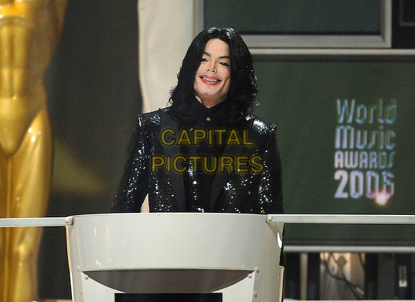 MICHAEL JACKSON.Michael Jackson dies at the age of 50 after suffering a heart attack on July 25th, 2009.winner of the Diamond Award.World Music Awards 2006.Earls Court, London England..November 15th, 2006.half length black jacket podium .CAP/BEL.©Tom Belcher/Capital Pictures.