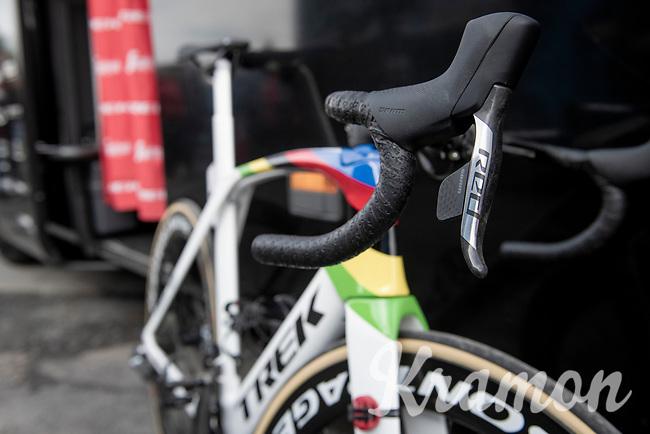 World Champion Mads Pedersen's (DEN/Trek-Segafredo) rainbow Trek Madone<br /> <br /> 79th Tour de l'Eurométropole 2019 (BEL/1.HC)<br /> One day race from La Louvière to Tournai (177km)<br /> <br /> ©kramon