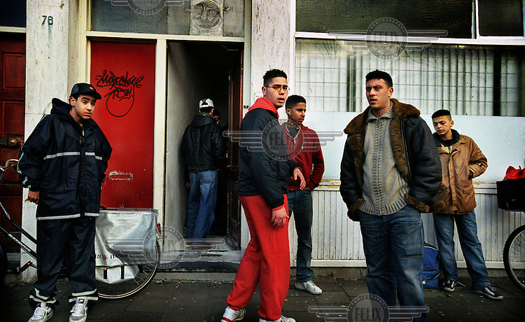 Moroccan youths hanging around on the street.