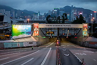 Anti-Extradition Bill protestors (unseen) block the main Cross Harbour Tunnel between Kowloon and Hong Kong Island, Hong Kong, China, 04 August 2019.