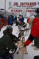 leaves the start line of the 2009 Junior Iditarod on Knik Lake on Saturday Februrary 28, 2009.