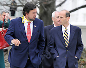 Washington, D.C. - February 22, 2009 -- Governors Bill Richardson (Democrat of New Mexico), left, and John Baldacci (Democrat of Maine), right, depart after they and their fellow governors met United States President Barack Obama at the White House in Washington, D.C. on Monday, February 22, 2010..Credit: Ron Sachs / CNP