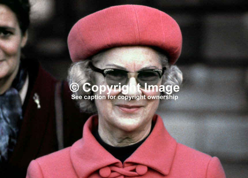 Maureen Lynch, wife of Rep of Ireland Prime Minister, Jack Lynch, who resigned from the position in 1980. 24/80/colour, 198001000024c.<br />