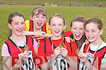 Hazel Carmody, Hannah Ryan, Laura Lynch, Katie Liston and Louise OConnor Rock Street/Caherslee celebrate after winning the u14 4x100 relay at the Community Games County finals in An Riocht Castleisland last Sunday .