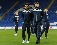 Bolton Wanderers' Derik Osede (left) and Dorian Dervite<br /> <br /> Photographer Kevin Barnes/CameraSport<br /> <br /> The EFL Sky Bet Championship - Cardiff City v Bolton Wanderers - Tuesday 13th February 2018 - Cardiff City Stadium - Cardiff<br /> <br /> World Copyright &copy; 2018 CameraSport. All rights reserved. 43 Linden Ave. Countesthorpe. Leicester. England. LE8 5PG - Tel: +44 (0) 116 277 4147 - admin@camerasport.com - www.camerasport.com