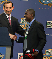 2004 MLS Super Draft. Freddy Adu and MLS commissioner Don Garber