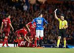 23.08.18 Rangers v Ufa: Kyle Lafferty booked