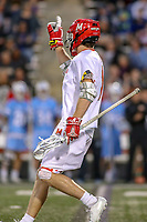 College Park, MD - April 27, 2019: Maryland Terrapins attack Jared Bernhardt (1) celebrates after scoring a goal during the game between John Hopkins and Maryland at  Capital One Field at Maryland Stadium in College Park, MD.  (Photo by Elliott Brown/Media Images International)