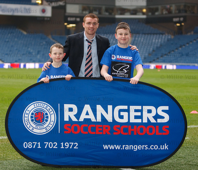 John Fleck promoting Rangers soccer schools with brothers Jack and Josh Cameron from Livingston