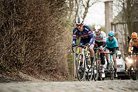 Roy Jans (BEL/Alpecin-Fenix) leading the breakaway group up the Kruisberg cobbles<br /> <br /> 72nd Kuurne-Brussel-Kuurne 2020 (1.Pro)<br /> Kuurne to Kuurne (BEL): 201km<br /> <br /> ©kramon