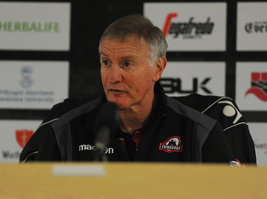 Edinburgh&rsquo;s Coach Alan Solomons during the post match interview <br /> <br /> Photographer Ashley Crowden/CameraSport<br /> <br /> Rugby Union - Guinness PRO12 - Ospreys v Edinburgh Rugby - Sunday 21st September 2014 - The Liberty Stadium - Swansea<br /> <br /> &copy; CameraSport - 43 Linden Ave. Countesthorpe. Leicester. England. LE8 5PG - Tel: +44 (0) 116 277 4147 - admin@camerasport.com - www.camerasport.com