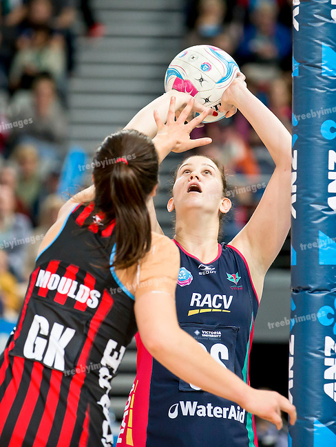 26/04/2015<br /> ANZ Championship 2015<br /> Round 9 Vixens v Tactix at Hisense Arena<br /> <br /> Kathryn Bailey<br /> <br /> Photo: Grant Treeby