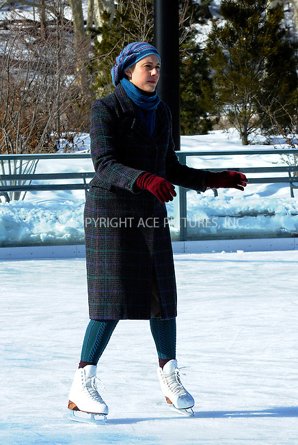 WWW.ACEPIXS.COM<br /> <br /> February 24 2015, New York City<br /> <br /> Actor Greta Gerwig shooting a scene at an ice rink for the new movie 'Maggie's Plan' on February 24 2015 in New York City<br /> <br /> By Line: Curtis Means/ACE Pictures<br /> <br /> <br /> ACE Pictures, Inc.<br /> tel: 646 769 0430<br /> Email: info@acepixs.com<br /> www.acepixs.com