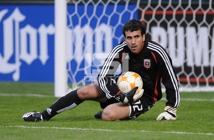 DC United goalkeeper Jose Carvallo (12) during warmups. DC United defeated Harbour View 5-0 (6-1 on aggregate) in the second leg of the CONCACAF Champions' Cup quarterfinal series at RFK Stadium in Washington D. C. on March 18, 2008.