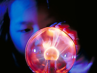 Kimberly Mun playing with a Bernouli Ball (gas plasma). Science, Play.