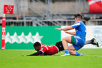 Sunday Haitembu of Namibia runs in a try. FISU World University Championship Rugby Sevens Men's 5th/6th place match between Namibia and Italy on July 9, 2016 at the Swansea University International Sports Village in Swansea, Wales. Photo by: Patrick Khachfe / Onside Images
