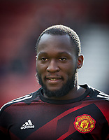Romelu Lukaku of Man Utd warms up ahead of the Premier League match between Stoke City and Manchester United at the Britannia Stadium, Stoke-on-Trent, England on 9 September 2017. Photo by Andy Rowland.