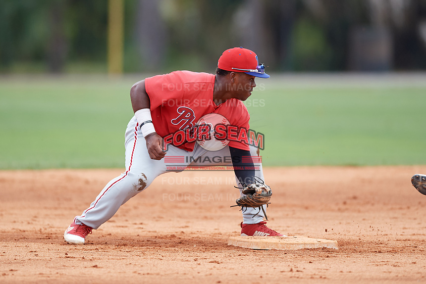 Philadelphia Phillies Wilfredo Flores (2) during an Instructional League game against the Detroit Tigers on September 19, 2019 at Tigertown in Lakeland, Florida.  (Mike Janes/Four Seam Images)