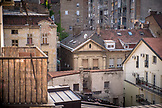 SERBIA, Belgrade, Crumbling building exteriors and rooftops seen from above in downtown Belgrade, Eastern Europe