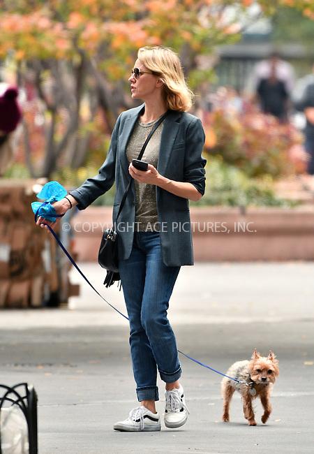 www.acepixs.com<br /> <br /> October 17 2016, New York City<br /> <br /> Actress Naomi Watts walks her dog in Tribeca on October 17 2016 in New York City<br /> <br /> By Line: Curtis Means/ACE Pictures<br /> <br /> <br /> ACE Pictures Inc<br /> Tel: 6467670430<br /> Email: info@acepixs.com<br /> www.acepixs.com
