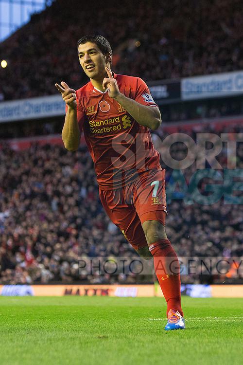 Luis Suarez of Liverpool celebrates his third goal - Liverpool vs. Fulham - Barclay's Premier League - Anfield - Liverpool - 09/11/2013 Pic Philip Oldham/Sportimage