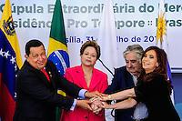 *** FOTO ARQUIVO DE 31/07/2012 /HUGO CHAVEZ*** - BRASILIA, DF, 31 JULHO 2012 - REUNIAO DE CUPULA EXTRAORDINARIA DO MERCOSUL - (E/D) Os presidentes da Venezuela Hugo Chavez, do Brasil Dilma Rousseff, do Uruguai Jose Mojica e da Argentina Cristina Kirchner durante a Reuniao Extraordinaria do Mercosul no Palacio do Planalto 31/07/2012. Chávez morreu nesta terça-feira, 5, aos 58 anos. Ele estava internado em um hospital militar de Caracas após passar dois meses em Cuba tratando um câncer. 05/03/2013   (FOTO: PEDRO FRANCA / BRAZIL PHOTO PRESS).