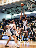 WASHINGTON, DC - FEBRUARY 22: Isiah Deas #10 of La Salle gets above Jameer Nelson Jr. #12 of George Washington for a shot during a game between La Salle and George Washington at Charles E Smith Center on February 22, 2020 in Washington, DC.