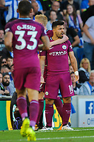 Sergio Aguero of Manchester City (10) Celebrates scoring his sides opening goal  during the EPL - Premier League match between Brighton and Hove Albion and Manchester City at the American Express Community Stadium, Brighton and Hove, England on 12 August 2017. Photo by Edward Thomas / PRiME Media Images.