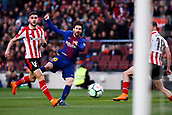 18th March 2018, Camp Nou, Barcelona, Spain; La Liga football, Barcelona versus Athletic Bilbao; Leo Messi of FC Barcelona gets his shot on goal but saved