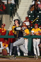 Andrew Knapp #15 of the California Bears bats against the USC Trojans at Dedeaux Field on April 5, 2012 in Los Angeles,California. California defeated USC 5-4.(Larry Goren/Four Seam Images)