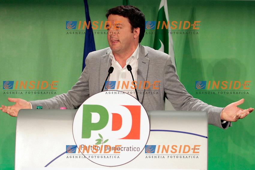 Matteo Renzi durante il suo intervento.Roma 11/05/2013 Assemblea Nazionale del partito Democratico alla Nuova Fiera di Roma.National Assembly of Democratic Party.Photo Samantha Zucchi Insidefoto