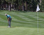 D.J. Trahan putts during the Barracuda Championship PGA golf tournament at Montrêux Golf and Country Club in Reno, Nevada on Sunday, July 28, 2019.