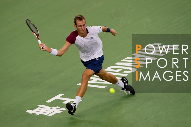 SHANGHAI, CHINA - OCTOBER 11:  Thiemo de Bakker of The Netherlands returns a ball to Fernando Verdasco of Spain during day one of the 2010 Shanghai Rolex Masters at the Shanghai Qi Zhong Tennis Center on October 11, 2010 in Shanghai, China.  (Photo by Victor Fraile/The Power of Sport Images) *** Local Caption *** Thiemo de Bakker