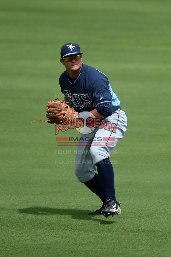 Tampa Bay Rays outfielder Hunter Lockwood (74) during an Instructional League game against the Minnesota Twins on September 16, 2014 at Charlotte Sports Park in Port Charlotte, Florida.  (Mike Janes/Four Seam Images)