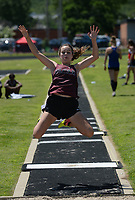 NWA Democrat-Gazette/ANDY SHUPE<br /> Quincy Efurd of Siloam Springs leaps Wednesday, May 15, 2019, while competing in the long jump portion of the state heptathlon championship at Ramay Junior High School. Visit nwadg.com/photos to see more photographs from the meet.