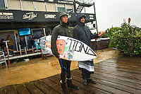 JEFFREYS BAY, South Africa (Sunday, July 24, 2011) - Jordy Smith (ZAF) with coach Garth Tralow (USA). The final day of the Billabong Pro Jeffreys Bay, Event No. 4 of 11 on the 2011 ASP World Title season, was  called ON this morning with the Quarterfinals commencing at 7:30am. .After navigating a period of tricky swell, event organisers were greeted with howling onshore winds, driving rain and a six foot choppy swell. Despite the trying conditions Jordy Smith (ZAF) went back to back wins defeating Mick Fanning (AUS) in the 35 minute final..  Photo: joliphotos.com