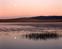 Moonset at sunrise over Crescent Lake in the White Mountains; Apache-Sitgreaves National Forest, AZ