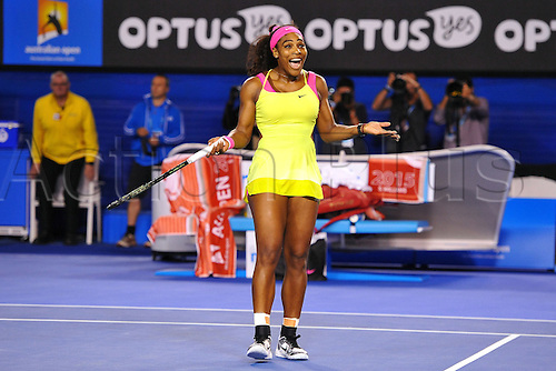 31.01.2015. Melbourne, Australia. 2015 Australian Open Tennis Championships, Ladies singles Final. Serena Williams versus Maria Sharapova.  Serena Williams (USA) wins the final by beating Maria Sharapova Maria Sharapova (RUS) in 3 sets 6-3 7-6 (7-5) after Sharapova fought back in the second set