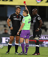 DURBAN, SOUTH AFRICA - APRIL 22: Referee: Marius van der Westhuizen of South Africa showing a red card to Andre Esterhuizen of the Cell C Sharks during the Super Rugby match between Cell C Sharks and Rebels at Growthpoint Kings Park on April 22, 2017 in Durban, South Africa. Photo: Steve Haag / stevehaagsports.com
