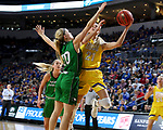 SIOUX FALLS, SD - MARCH 7: Tylee Irwin #21 of the South Dakota State Jackrabbits goes up for a layup against Claire Orth #10 of the North Dakota Fighting Hawks at the 2020 Summit League Basketball Championship in Sioux Falls, SD. (Photo by Dave Eggen/Inertia)