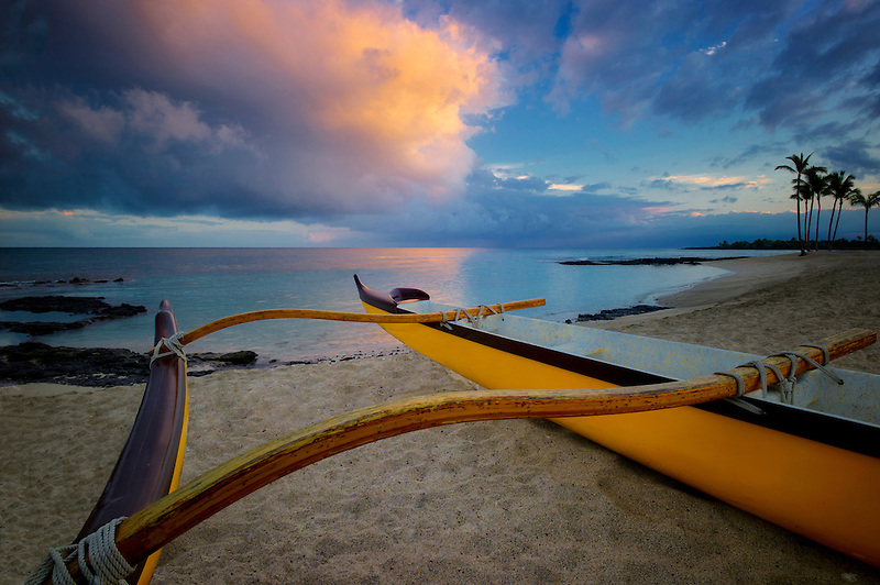 Outrigger boat on the Kohala Coast. The Big Island, Hawaii.