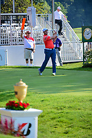 Jon Rahm (ESP) on the 1st tee during the first round of the WGC Bridgestone Invitational, Firestone country club, Akron, Ohio, USA. 03/08/2017.<br /> Picture Ken Murray / Golffile.ie<br /> <br /> All photo usage must carry mandatory copyright credit (&copy; Golffile | Ken Murray)