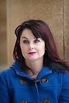 Irish novelist Marian Keyes and the Clarendon Building during the FT Weekend Oxford Literary Festival, Sunday 10 April 2016. Photo © Graham Harrison.